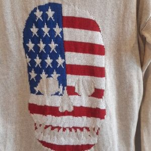 Poof! skull us flag pullover knit sweater Large